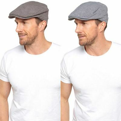 Mens Linen Cotton Flat Cap Vintage Summer