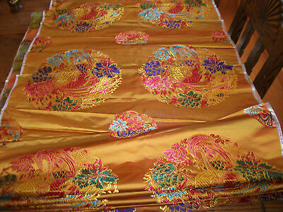 "Gold embroidery silk Chinese fabric textile peacock design 40 ft long 29"" wide"