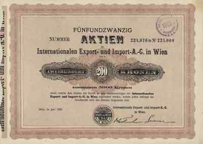 Internationalen Export Import AG Wien Juni 1920 Hamburg Gänsemarkt 5.000 Kronen