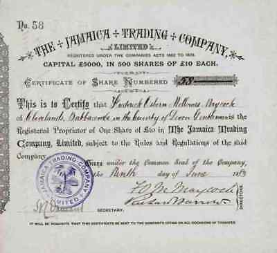 Jamaica Trading Company Limited 1883 Kingston London 10 Share Fredrick Maycock