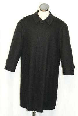 "WOOL & CASHMERE OVER COAT Men Long BLACK German NICE INSIDE LINING Winter 49"" XL"
