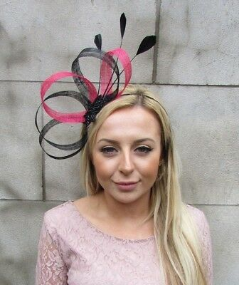 Black Hot Pink Sinamay Feather Hair Fascinator Headband Races Cocktail 5426