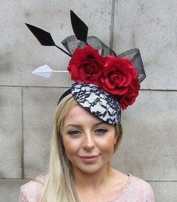 Large Black Red White Rose Flower Feather Hat Fascinator Headband Races 5428