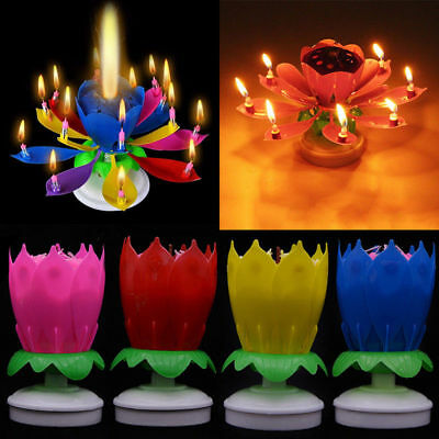 Novelty Lotus Flower Musical Rotating Birthday Cake Topper Candle Party Decor