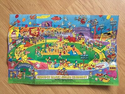 BEDROCK GAMES AWARD CEREMONY POSTER 1992 from HANNA-BARBERA PROD. CEREAL BOX
