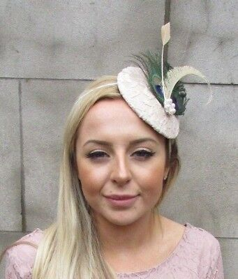 Beige Cream Green Peacock Feather Pillbox Hat Fascinator Races Ascot Hair 5437