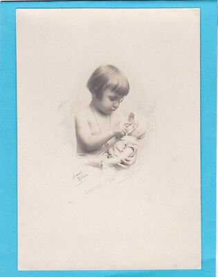Beautiful Antique Photo Little Girl And Her Doll - Identified - c1930s Art Deco