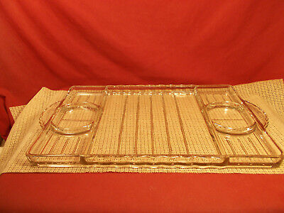 "Nice Large Heavy Clear Glass Serving Tray 19"" L x 11"" W"