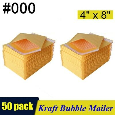 "50PCS #000 4""x8"" KRAFT BUBBLE MAILERS PADDED SELF SEAL SHIPPING BAGS ENVELOPES"