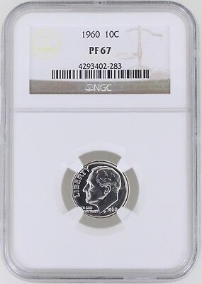 1960 Proof Roosevelt Silver Dime 10C NGC PF67
