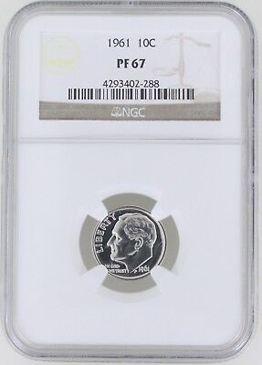 1961 Proof Roosevelt Silver Dime 10C NGC PF67