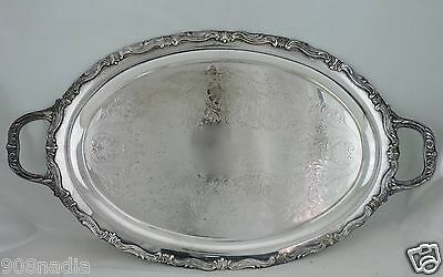 Antique Silver Plate Tray Oval Serving Butler's Ornate Etched Silverware