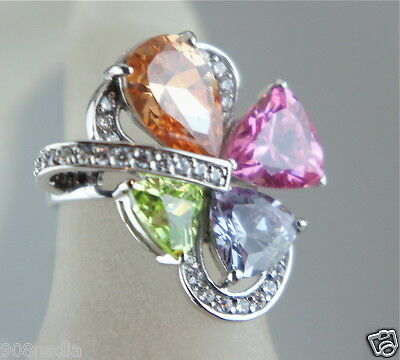 Vintage Sterling Silver,pink,white,green Topaz Clover Ring Signed Sz 8