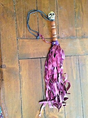 """Leather Cat'o'nine Tails With Pirate Handle 20"""" Long"""