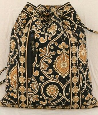 3c50a5df0e64 VERA BRADLEY Black Brown Quilted Fabric CAFFE LATTE Drawstring Bucket Backpack  VERA ...