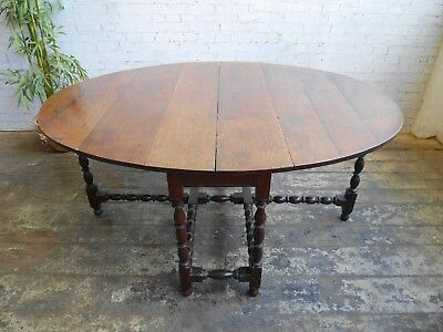 Antique Charles II Revival English Oak Country Farmhouse Gateleg Dining Table