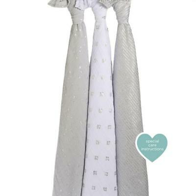aden + anais Classic Swaddle, 3 Pack (Metallic Charm) Free Shipping!