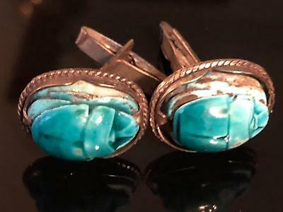 Glazed Stone Turquoise Scarab Sterling Silver Cufflinks Vintage 1940s