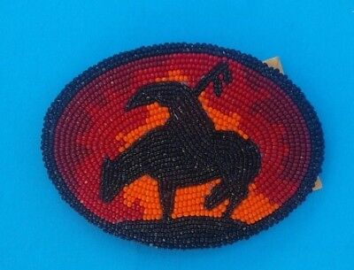Native American Hand-Beaded Belt Buckle End of The Trail -NEW- leather