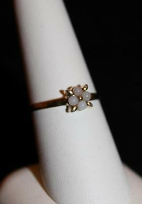 Vintage Silver 925 White Bead Flower Design Ring With Gold Tone Size 8 (S46)