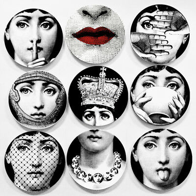 "Copy Fornasetti Plates Nordic Home Studio Wall Hanging 8"" Ceramic Craft Decor"