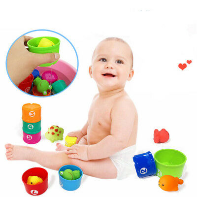 BabyChildren Kids early Educational Toy Figures Letters Folding Cup Pagoda Stack