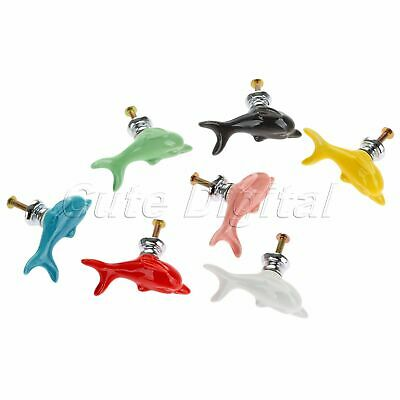 Ceramic Dolphin Shape Cabinet Door Pull Handle Drawer Wardrobe Knobs Creative
