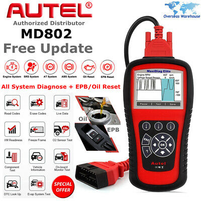 Autel MaxiDiag Elite MD802 OBD2 All System OBDII Diagnostic Tool Scanner SRS ABS