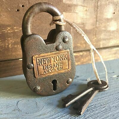 New York Insane Asylum Working Cast Iron Lock W/ 2 Keys W/ Rusty Antique Finish