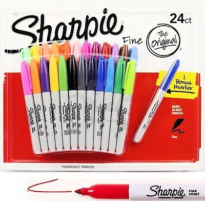 SHARPIE 24 Set Coloured Fine Point Permanent Marker NEW + bonus marker Free Post