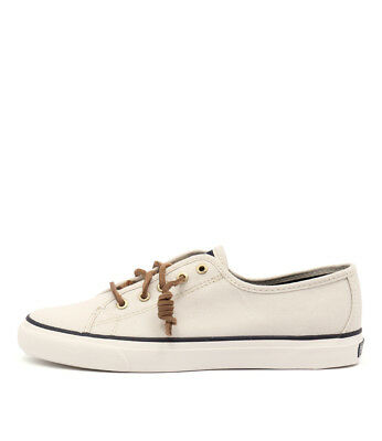 New Sperry Seacoast Canvas All White Womens Shoes Casual Shoes Flat