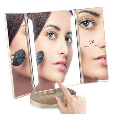 Easehold Touch LED Makeup Mirror Tri-fold Magnifying Impressions Vanity Mirror