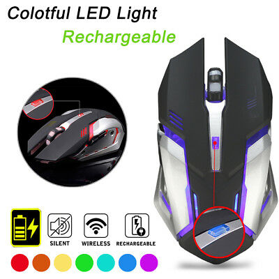 2.4GHz Wireless Rechargeable USB Optical Ergonomic LED Light Gaming Mouse - AU