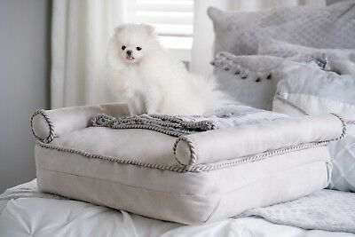 Luxury Modern Light Gray Sleigh Pet Bed Silver Ice Angel Enchanted Pets Bed