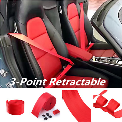 3.6M 48mm Red Racing Front 3 Point Safety Retractable Van Car Auto Seat Lap Belt