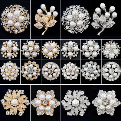 Wedding Bridal Bouquet Pearl Crystal Flower Brooch Pin Women Costume Jewelry New