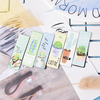 6pcs Cute Plant Paper Bookmarks Magnetic Book Marks School Supplies StationeryME