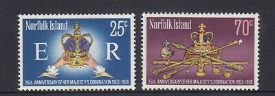 NORFOLK Island 1978 25th Anniversary of QUEEN's CORONATION  set of 2 MNH