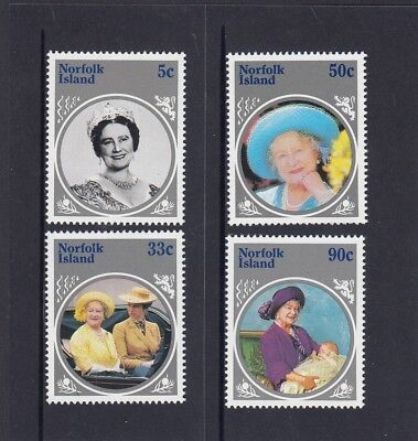 NORFOLK Island 1985 LIFE & TIMES of the QUEEN MOTHER set of 4  MNH - Royalty.