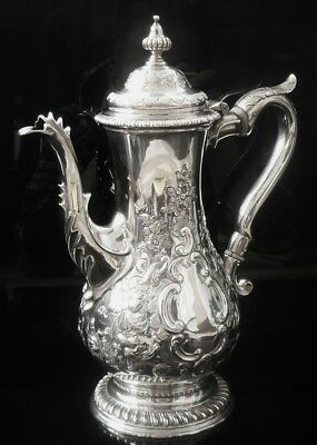 Antique Silver Coffee Pot, London 1768, Charles Wright