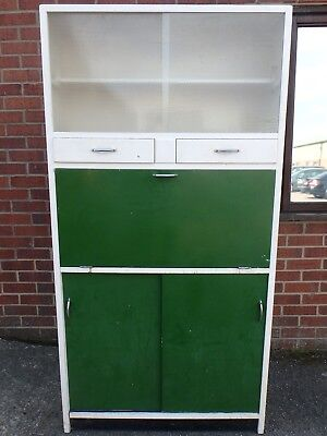1950s vintage freestanding white green painted kitchen pantry larder cabinet