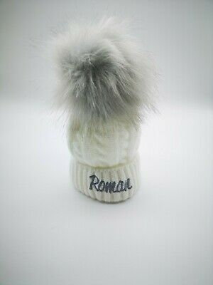 personalised or Plain embroidered 1 grey pom Baby Girls Boys Hat 0-12 month