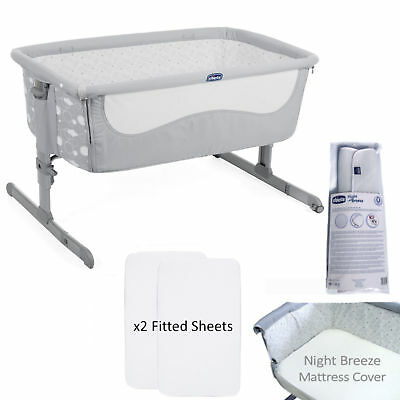 New Chicco Elegance 4 Piece Next 2 Me Height Adjustable Baby Crib Bundle