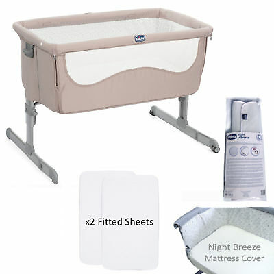 New Chicco Chick To Chick 4 Piece Next 2 Me Height Adjustable Baby Crib Bundle
