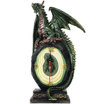 NEW Green Dragon & Precious Gem Stone Clock - Cold Cast Handpainted Resin Statue