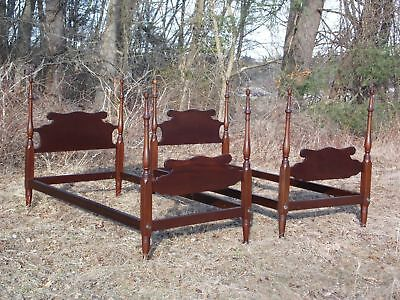 Antique Pair Solid Mahogany 4 Poster Twin Beds Virginia Craftsmen Reproduction
