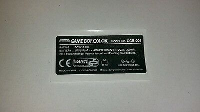 Nintendo Game Boy Color Replacement Model Info Sticker UK/EUR POKEMON Console