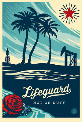 Obey Shepard Fairey Offset Poster Obey Life Guard Not On Duty Handsigniert 24x36