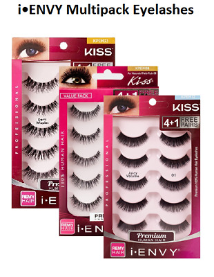Buy1 Get1, 50%) KISS I ENVY Multi Pack 3D Eyelashes Human Remy Hair Demi Wispies