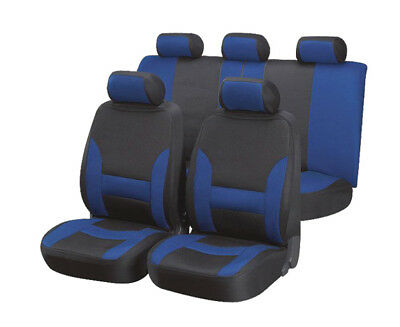 VOLVO 240 ESTATE 73-93 Luxury Black & Blue Leather Look Seat Cover Set